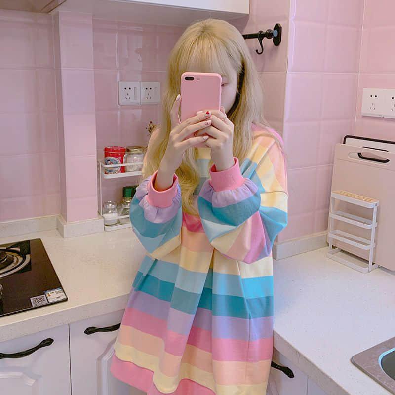 Soft Girl Harajuku Rainbow Striped T-shirt 43