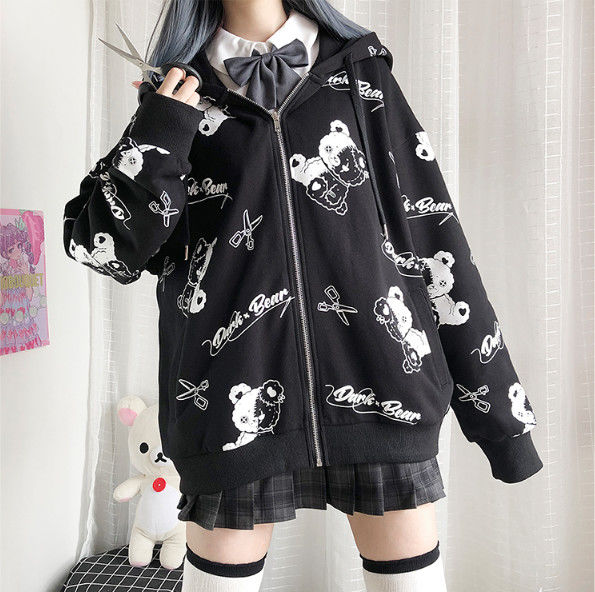 Harajuku Egirl Gothic Hoodies with bear print 48