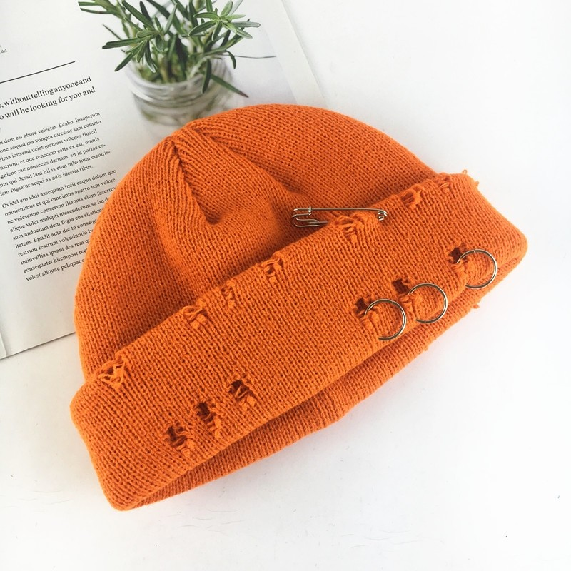 Harajuku Grunge Winter Knitted Hat with Holes, rings and pins 67
