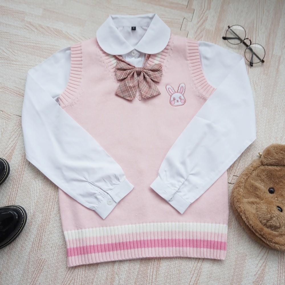 Egirl Soft girl Harajuku Pink vest with Small rabbit Embroidery 44