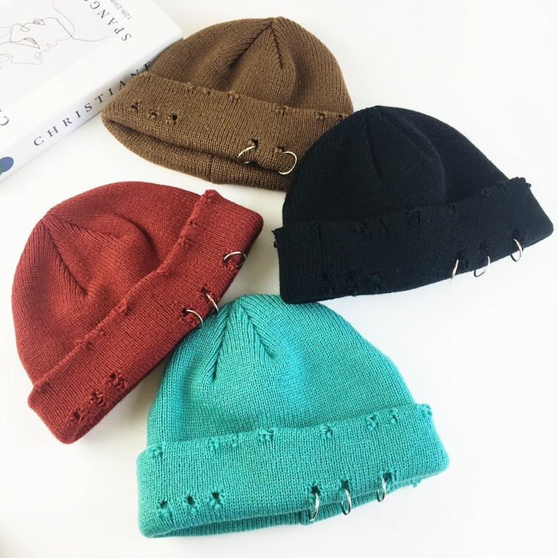 Harajuku Grunge Winter Knitted Hat with Holes, rings and pins 41