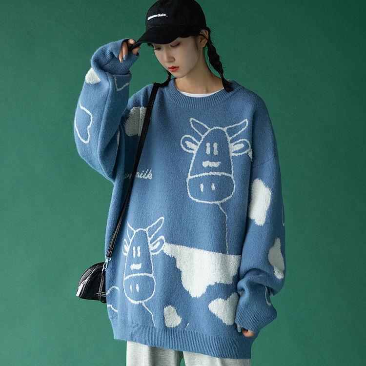 Egirl Harajuku pullover with a cow print 52