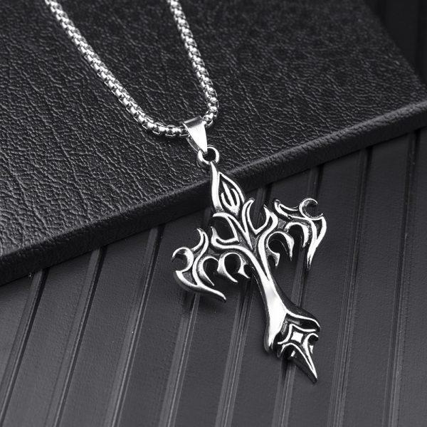 Egirl Eboy Punk Chain Necklace with Cross Pendant 4