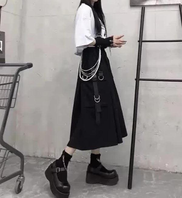 Harajuku Punk High Waist Loose A-line Cargo Skirts with chain 60