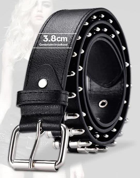 Egirl Eboy Punk leather belt with Bullet decor 42