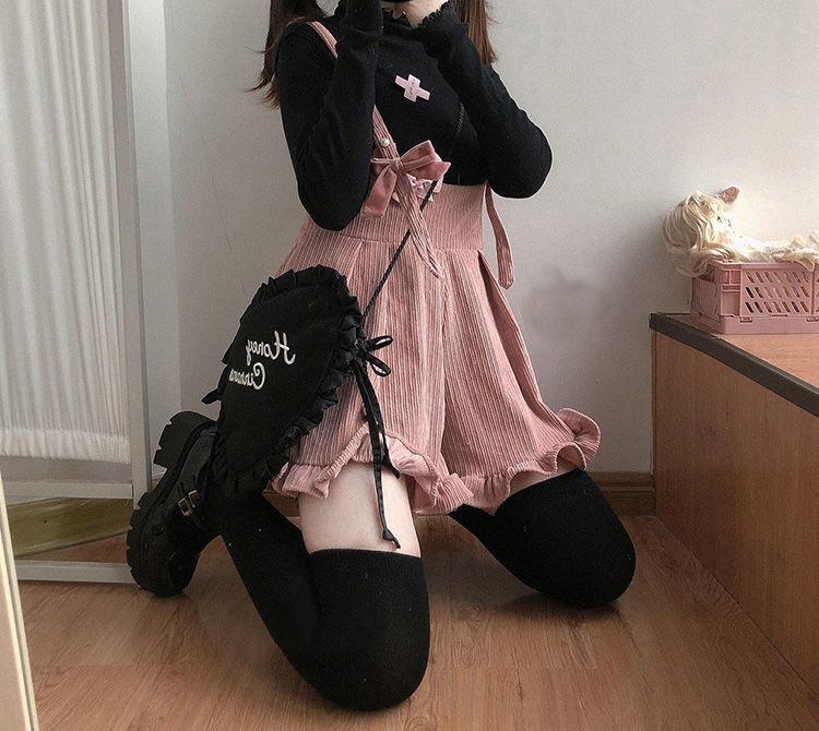 Egirl Soft girl Loose Solid Corduroy Playsuitswith Ruffles 52