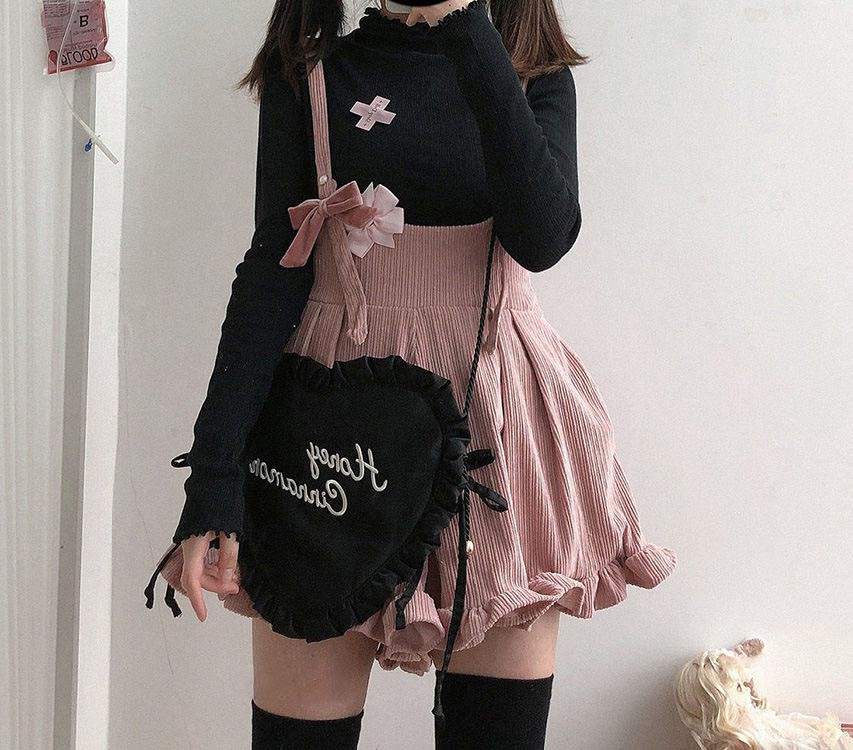 Egirl Soft girl Loose Solid Corduroy Playsuitswith Ruffles 51