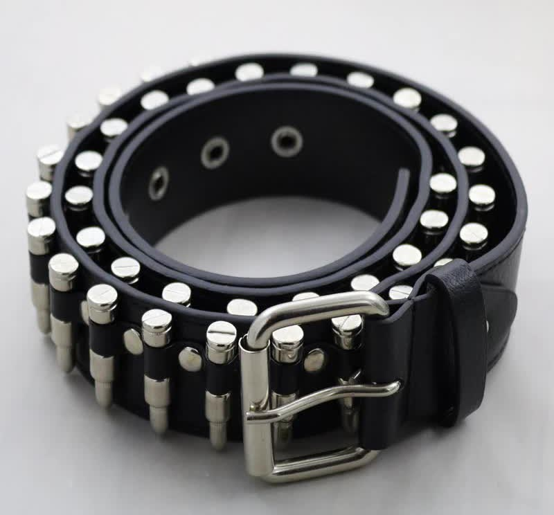 Egirl Eboy Punk leather belt with Bullet decor 49