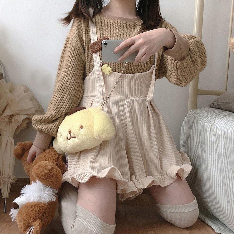Egirl Soft girl Loose Solid Corduroy Playsuitswith Ruffles 46