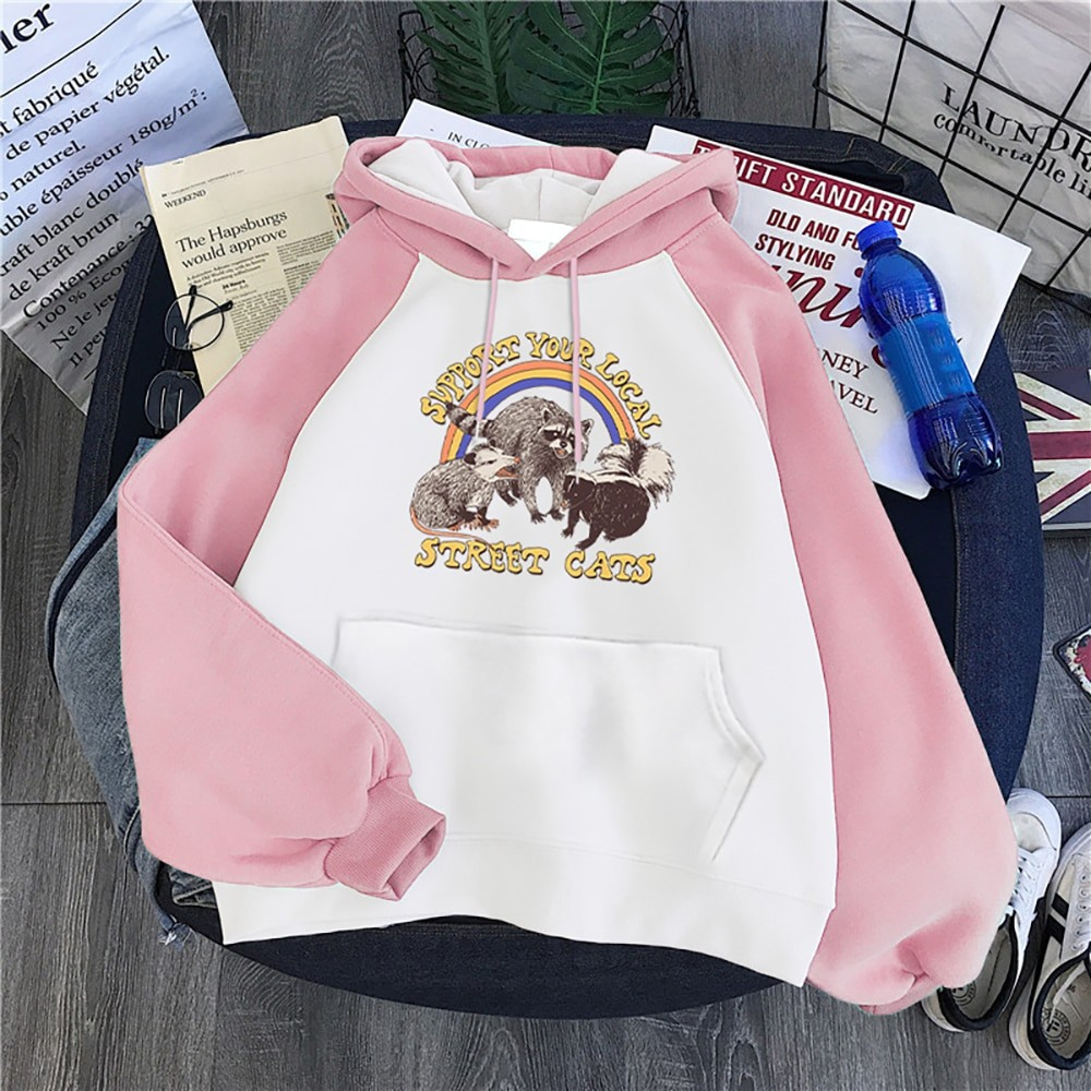E-girl E-boy Harajuku Hoodie with Support Your Local Street Cats Print 2