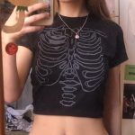 Punk E-girl Gothic Crop top with skeleton print 5