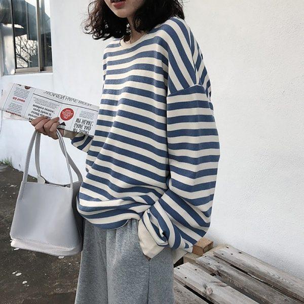 Harajuku E-girl Grunge striped cotton Sweatshirt 1