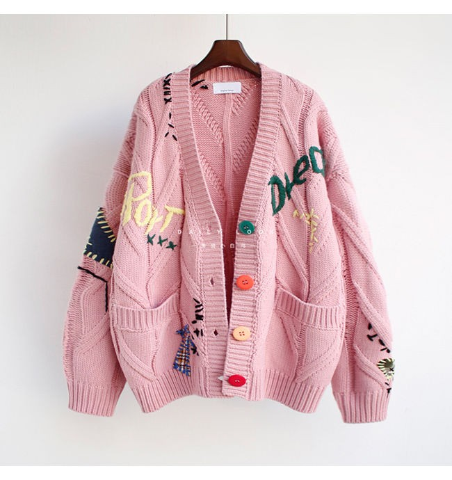 Harajuku Y2K  Cottagecore Loose Knitted Cardigan with Pockets and Embroidery 59