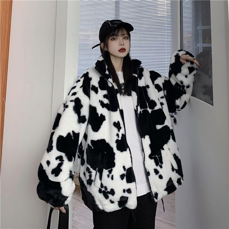 Harajuku E-girl Loose Coat with Cows Printing 43