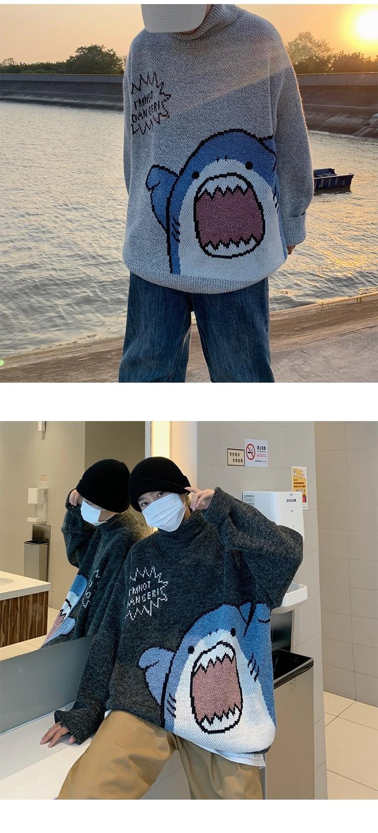 Harajuku E-boy E-girl Turtlenecks Oversized Shark Sweater 43