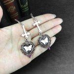 E-girl Goth Butterfly Earrings with Cross & Heart 5
