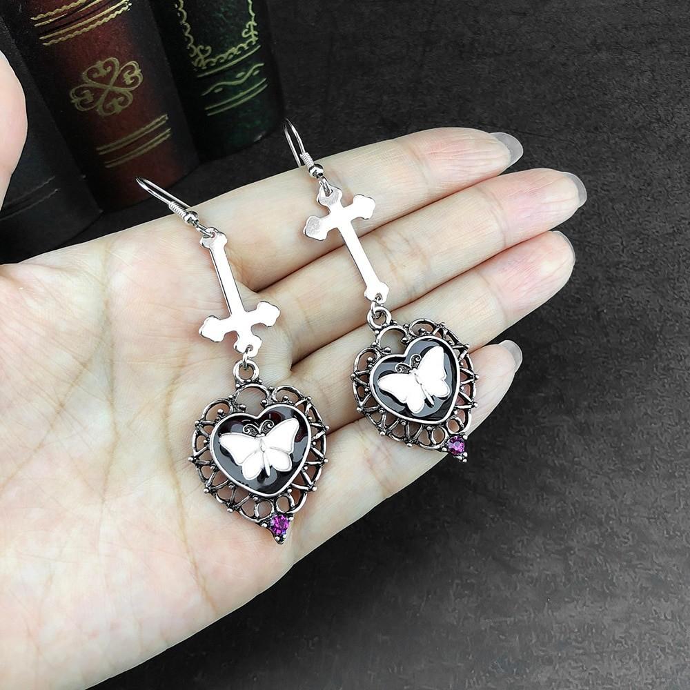E-girl Goth Butterfly Earrings with Cross & Heart 45