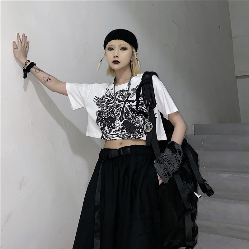 E-girl Gothic Punk Crop Top with gothic print 44