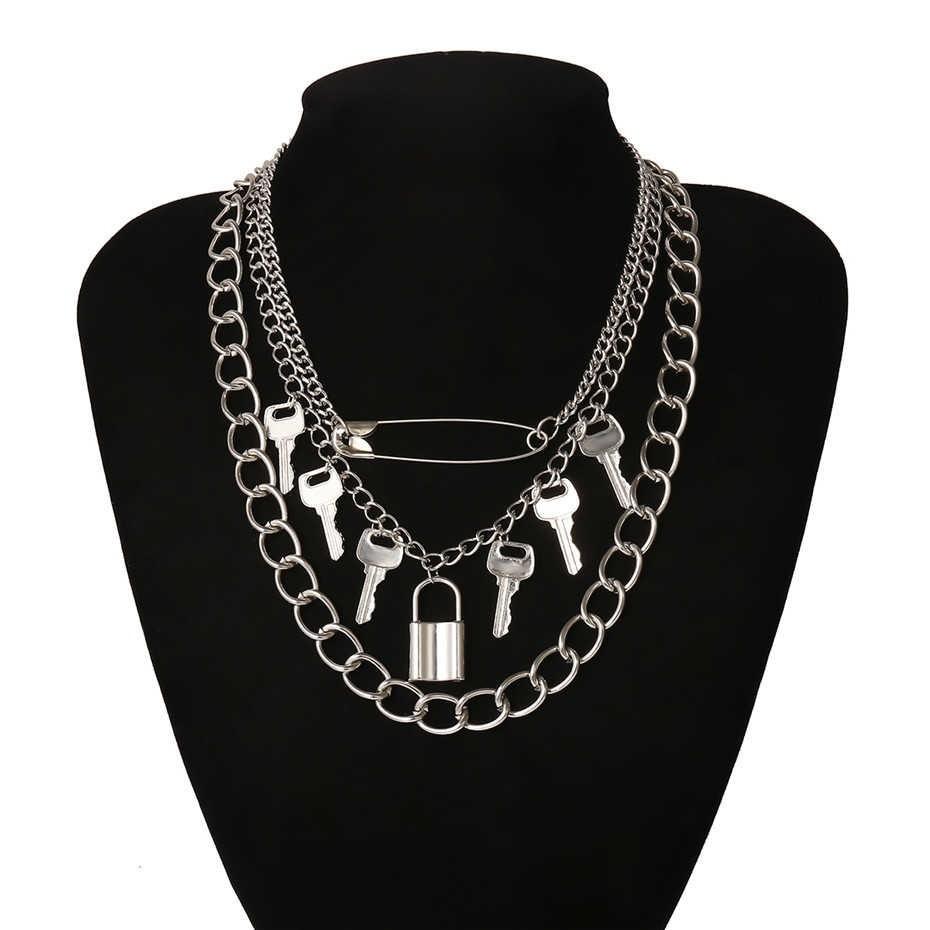 E-girl E-boy Punk Gothic Big Lock Key Angel Pendant Necklace 48