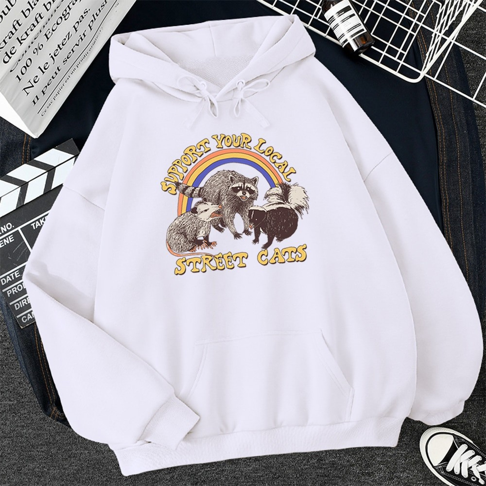 E-girl E-boy Harajuku Hoodie with Support Your Local Street Cats Print 48