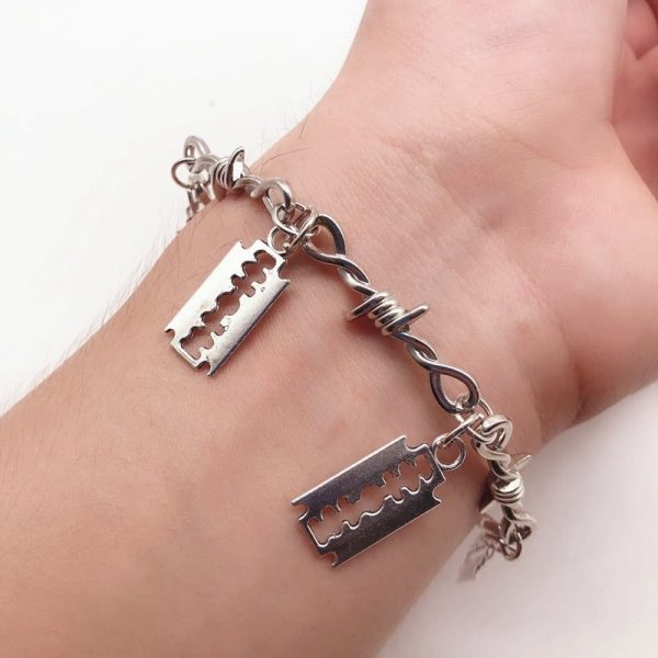 E-boy E-girl Gothic Punk Bracelet with Blades and Barbed wire 1