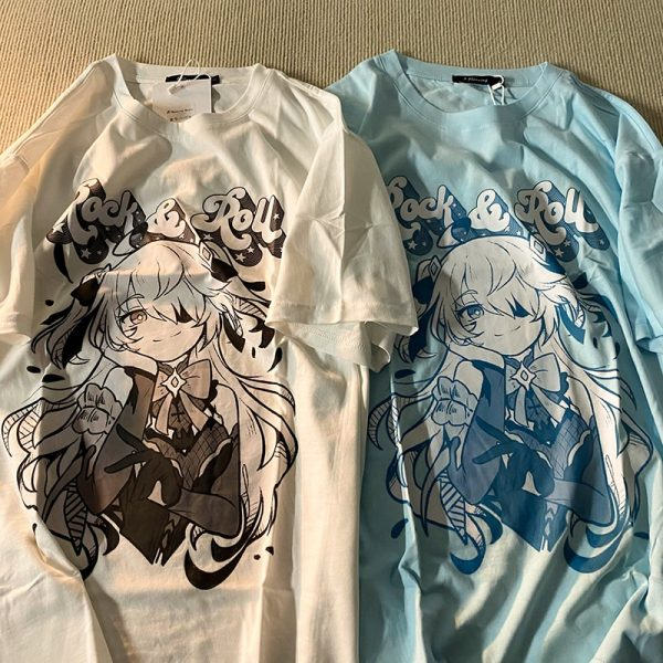 Harajuku E-girl Aesthetic T-Shirt with Anime Gothic cartoon print 3