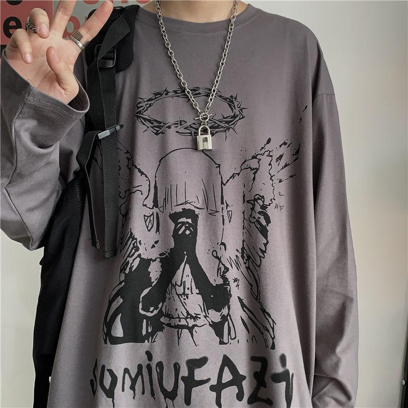 E-boy E-girl Punk Gothic Long Sleeve T-shirts  with Angel print 41