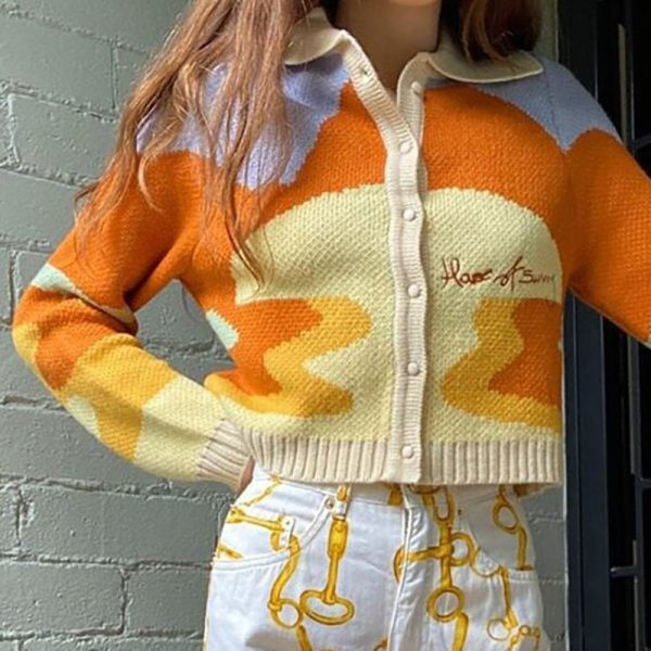 Y2K Soft girl Vintage French Style Sunshine Print Short Knitted Sweater 1