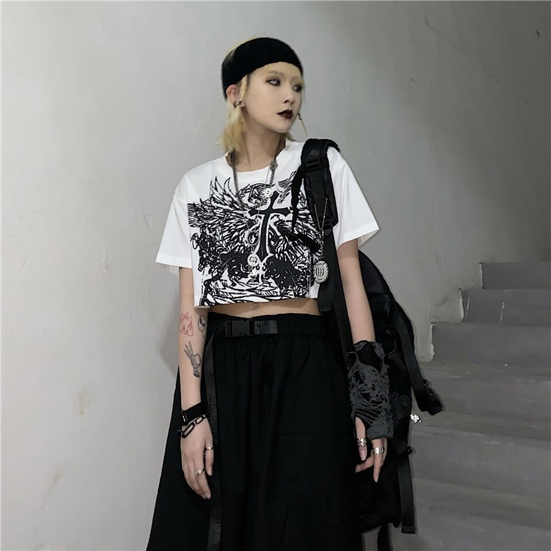 E-girl Gothic Punk Crop Top with gothic print 46