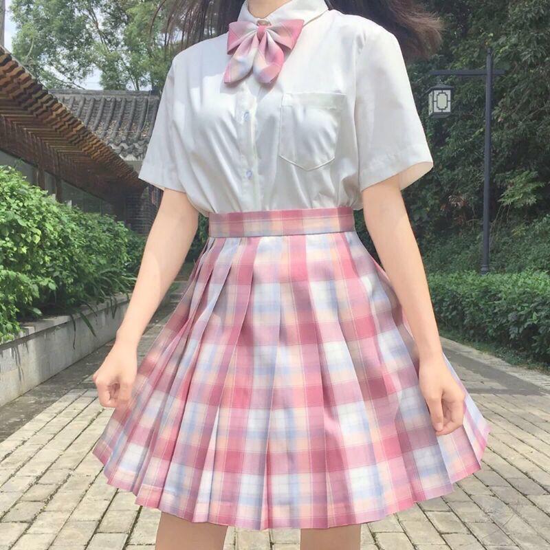 Harajuku E-girl Soft girl Pleated A-Line Plaid Skirts 62