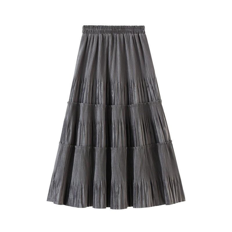 Harajuku Vintage Long Velvet Pleated Skirts 48
