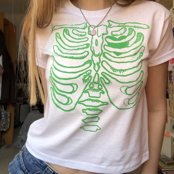 Punk E-girl Gothic Crop top with skeleton print 3