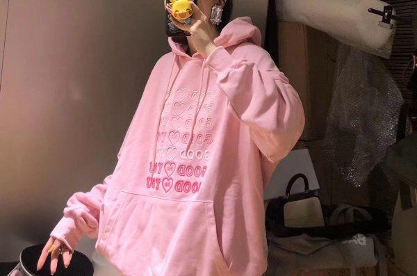 E-girl Soft girl oversized Harajuku hoodie with Good for You embroidery 6