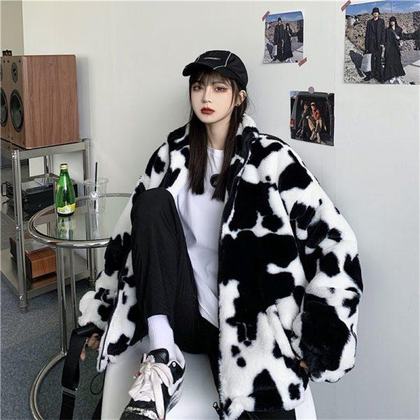 Harajuku E-girl Loose Coat with Cows Printing 3
