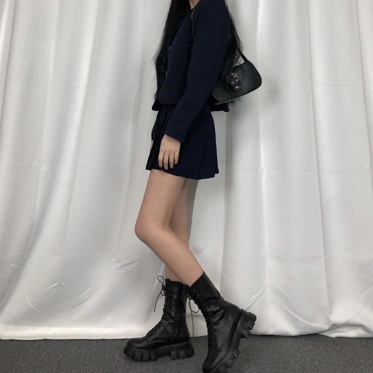 E-girl Gothic Punk Mid Calf Boots 43