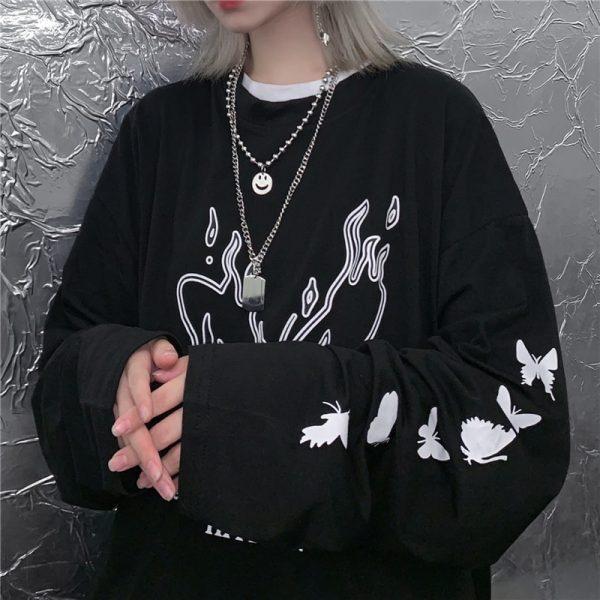 E-girl Gothic Punk Harajuku T-shirt with butterflies print 2