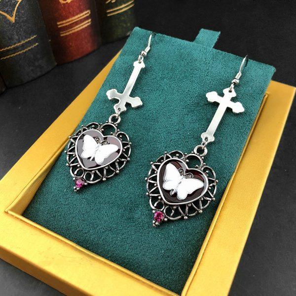 E-girl Goth Butterfly Earrings with Cross & Heart 2