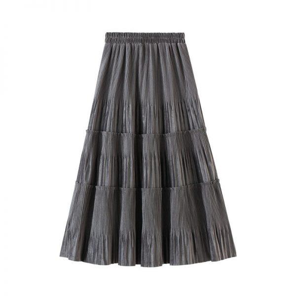 Harajuku Vintage Long Velvet Pleated Skirts 4
