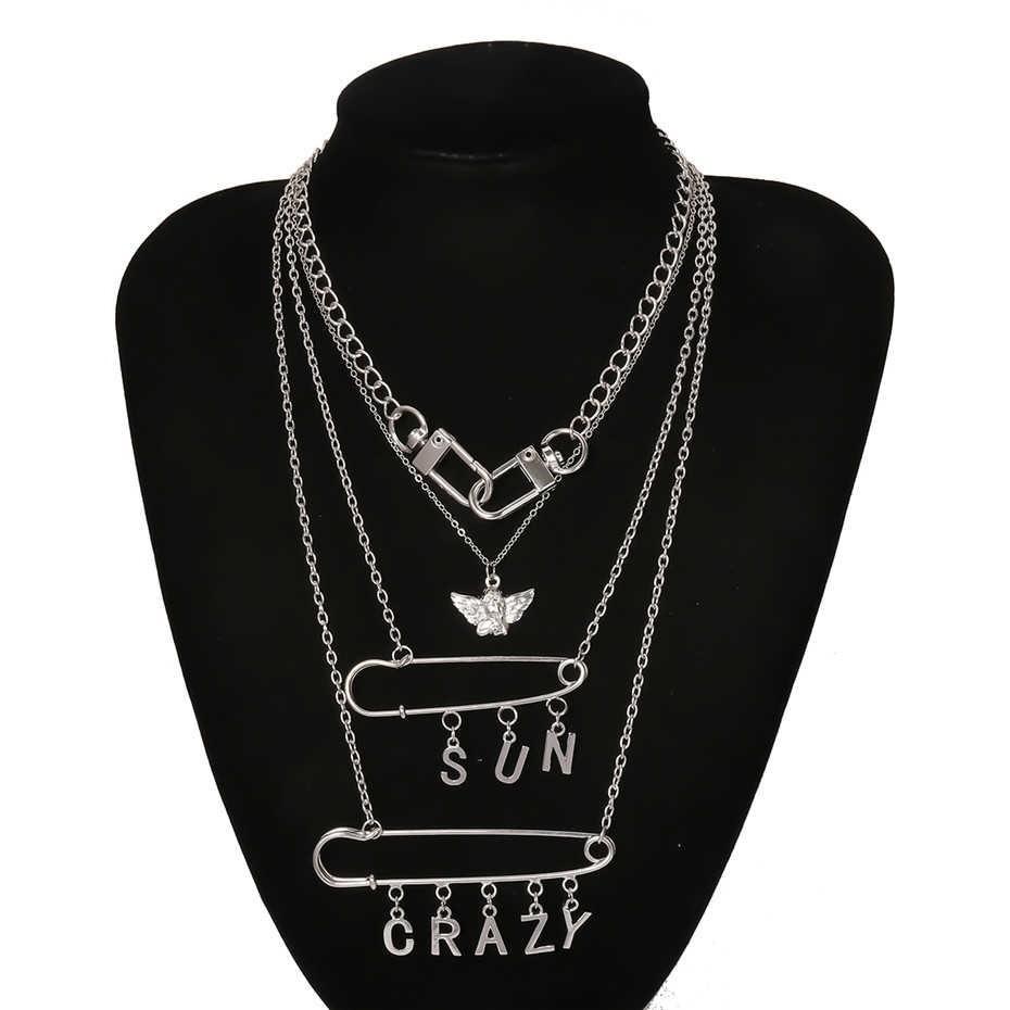 E-girl E-boy Punk Gothic Big Lock Key Angel Pendant Necklace 49