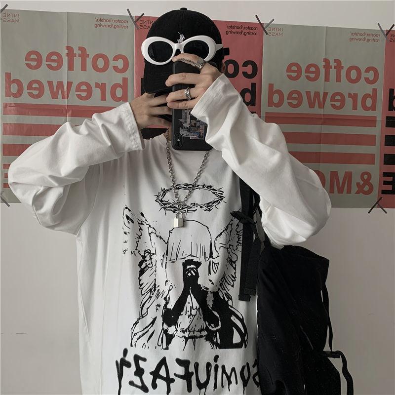 E-boy E-girl Punk Gothic Long Sleeve T-shirts  with Angel print 44