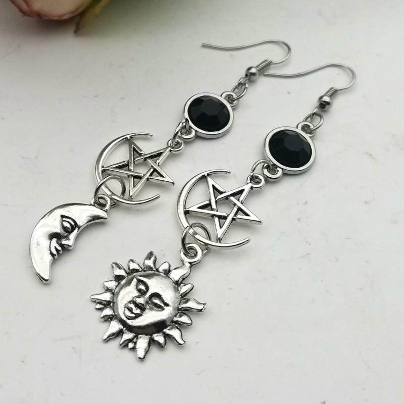 E-girl Gothic Crescent and Pentagram Long Earrings 43