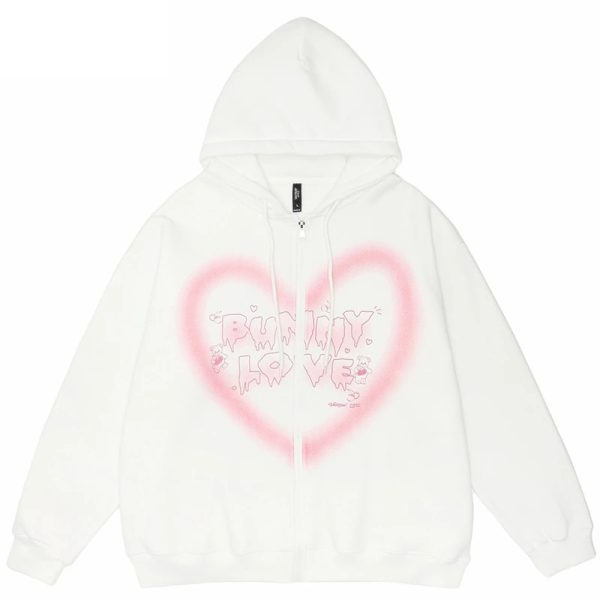 E-girl Y2K  Harajuku Hoodie with Graffiti Heart and Letters Print 3