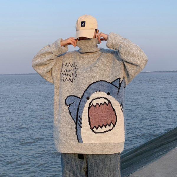 Harajuku E-boy E-girl Turtlenecks Oversized Shark Sweater 1