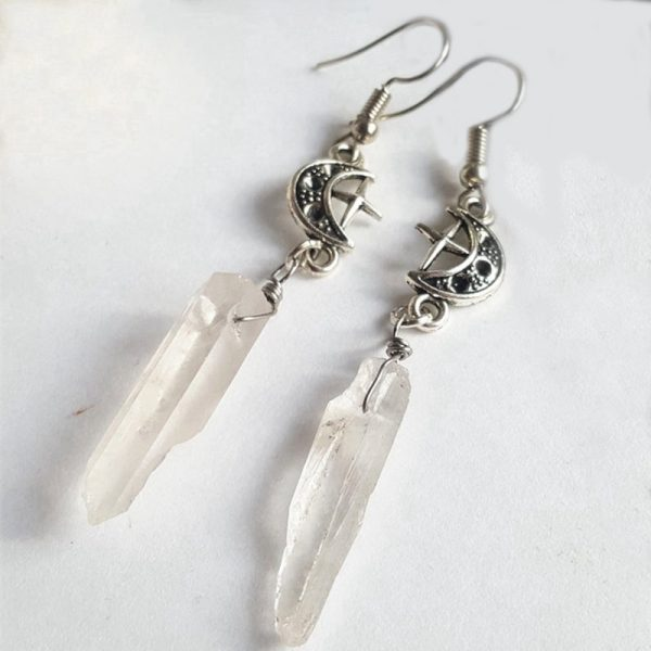 E-girl E-boy Gothic Clear Quartz and Crescent Moon Earrings 1