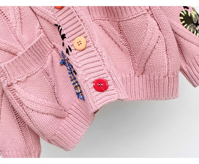 Harajuku Y2K  Cottagecore Loose Knitted Cardigan with Pockets and Embroidery 61
