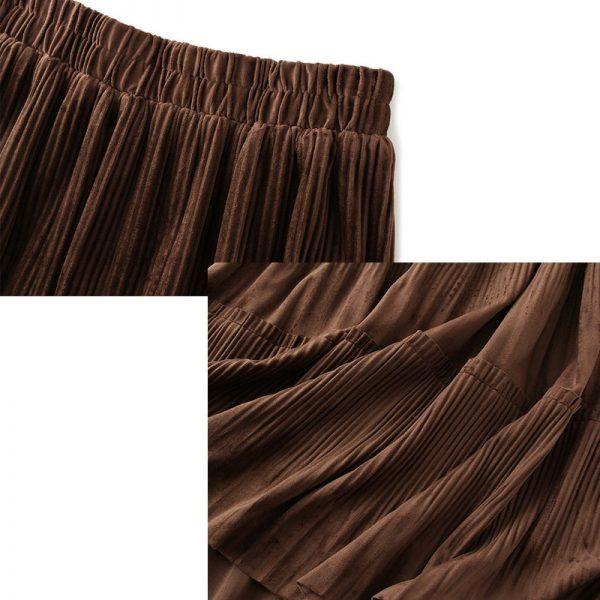 Harajuku Vintage Long Velvet Pleated Skirts 6