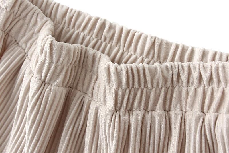 Harajuku Vintage Long Velvet Pleated Skirts 46