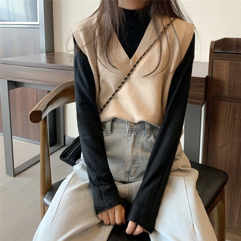 Soft Girl E-girl Harajuku Knitted V-Neck Sleeveless Vest 45