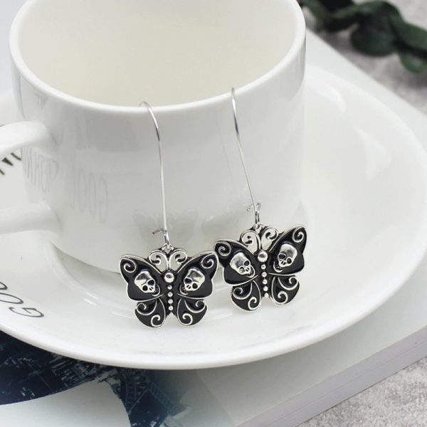 E-girl Gothic Punk Black Butterfly Wings Inlaid With Skulls 6