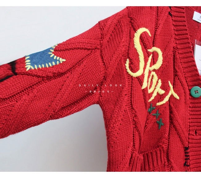 Harajuku Y2K  Cottagecore Loose Knitted Cardigan with Pockets and Embroidery 55